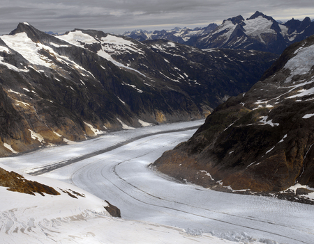 Aerial view of a glacier in the Juneau Ice fields in Alaska, USA.