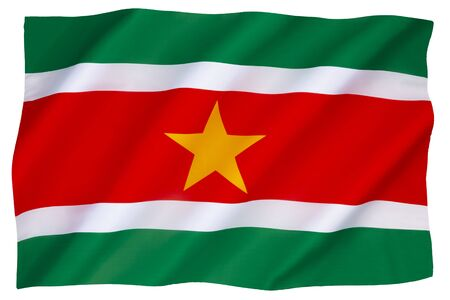 Photo pour The national flag and ensign of Suriname - adopted 25 November 1975. - image libre de droit