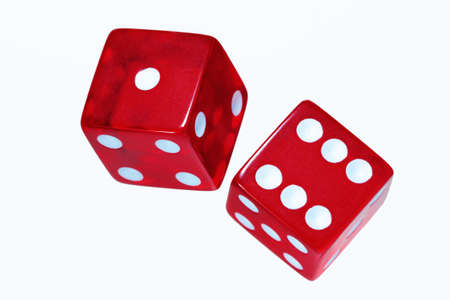 Two red dice on white background