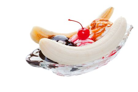 Banana split ice cream studio isolated on a white background