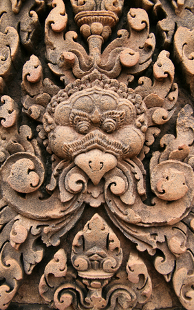 Ancient Hindus carving in the court of Angkor. Angkor Wat.