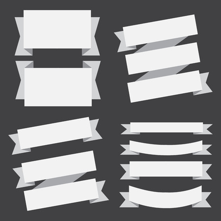 vector banners ribbons set on a black background.