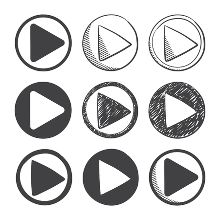 nine hand drawn and material design play icon set. sketch symbol on a white background