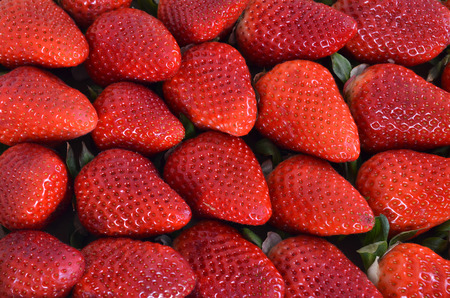 Fresh red strawberries in a top view