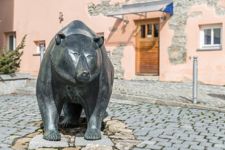 Life size metal sculpture of the heraldic animal of Grafenau, the bears - Germany