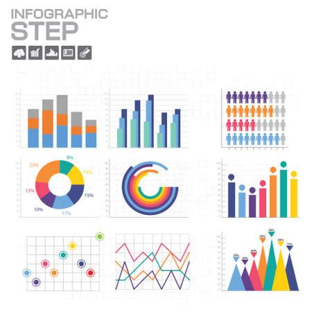 Illustration pour Chart and Graph infographics, elements and icons. Vector - image libre de droit
