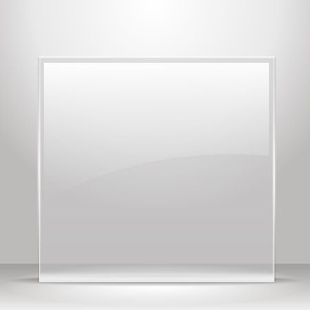 Illustration pour Glass frame for images and advertisement. Empty room. - image libre de droit