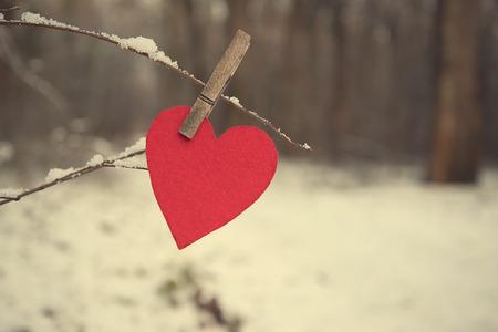 Photo pour Heart shape on a snowy branch a winter's day - image libre de droit