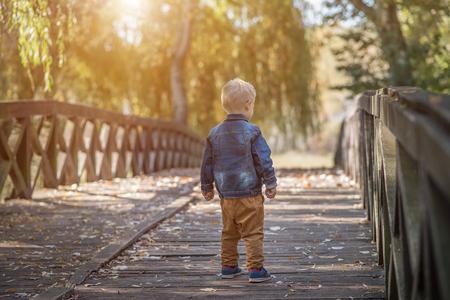 Photo pour Adorable little boy on the wooden bridge in the nature - image libre de droit