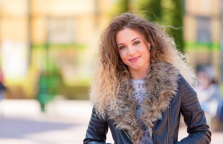Photo for Photo of a beautiful woman in the park - Royalty Free Image
