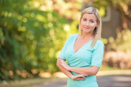 Photo for Closeup portrait of a beautiful woman in the street - Royalty Free Image