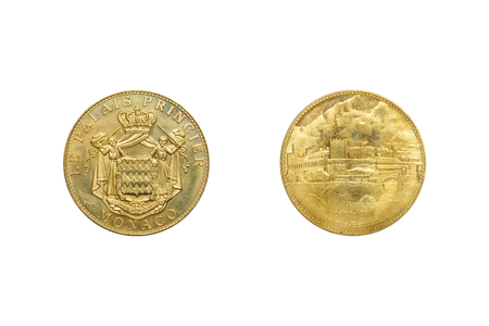 Front and back of Monaco Le Palais Princier 2011 coin with clipping path.
