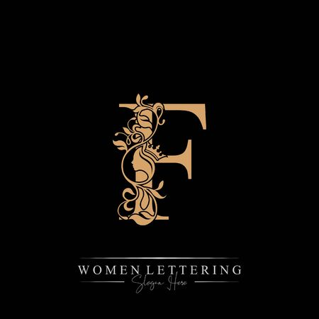 Illustration for Initial letter Luxury F logo with beautiful woman portrait. Leaf Ornament Luxury glamour concept. - Royalty Free Image