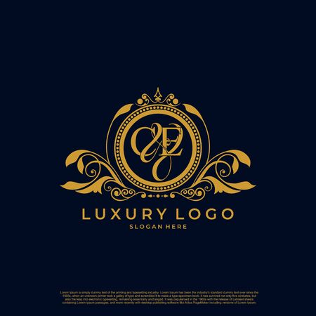 Illustration for Logo Initial letter CE luxury vector mark, gold color elegant classical symmetric curves decor. - Royalty Free Image