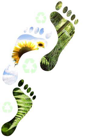 Environmental footprints on white background.