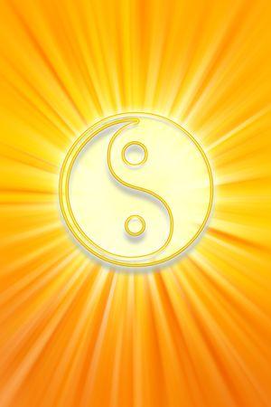 Yin Yang symbol on bright yellow background
