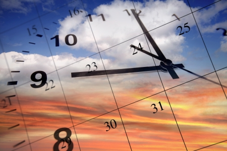 Clock face and calendar on sky