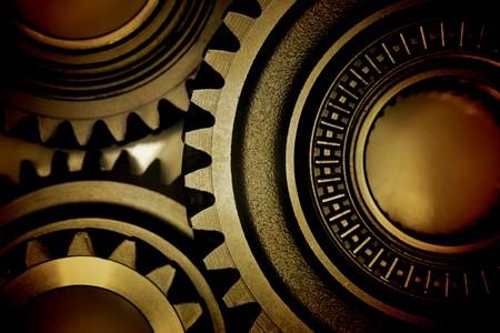Photo pour Closeup of three metal gears - image libre de droit