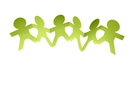 Photo pour Group of people holding hands on plain background - image libre de droit