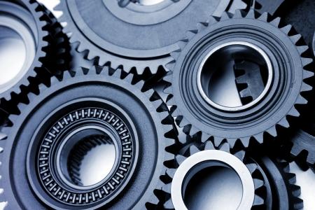 Photo pour Steel gears meshing together - image libre de droit