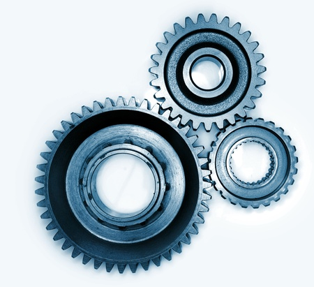 Three gears meshing together