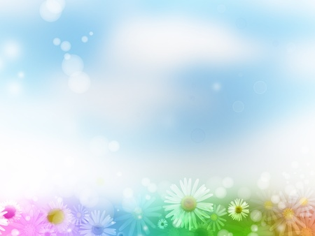 Flowers on blue and white background