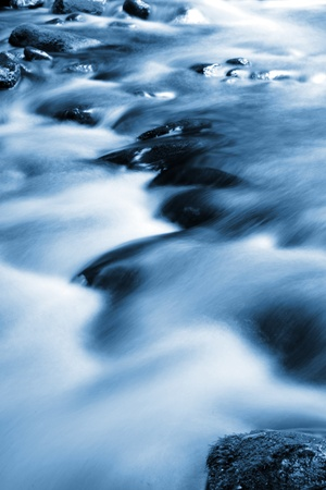 Beautiful stream flowing in motion. Natural background