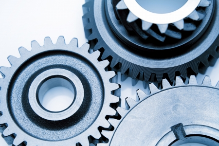 Closeup of three metal gears