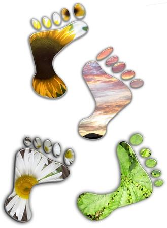 Environmental footprints on plain background