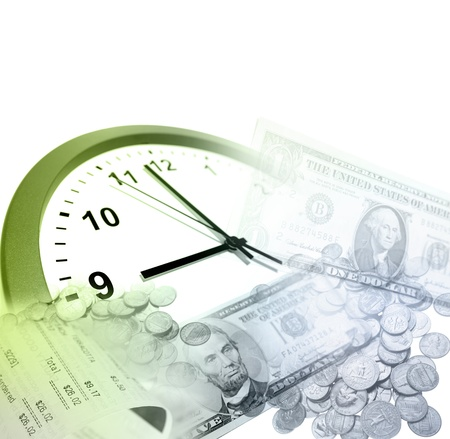 Clock, coins and banknotes  Time is money concept