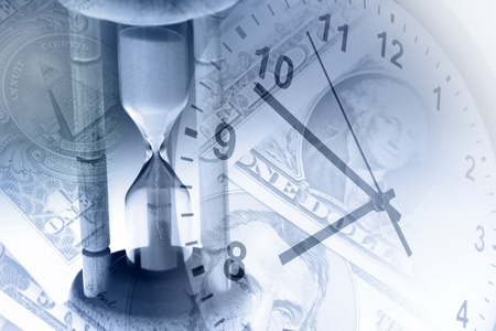 Timer, clock and cash. Time is money concept