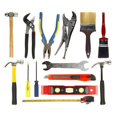 Photo pour Varied tools on plain background - image libre de droit