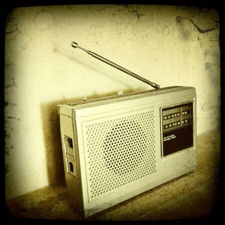 Closeup of old radio on shelf