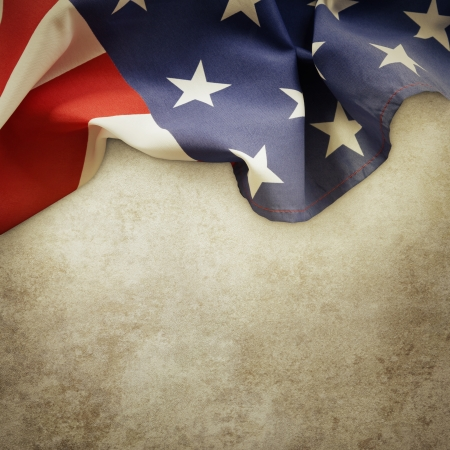 Closeup of American flag on textured background