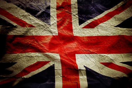 Closeup of Union Jack flag, with texture