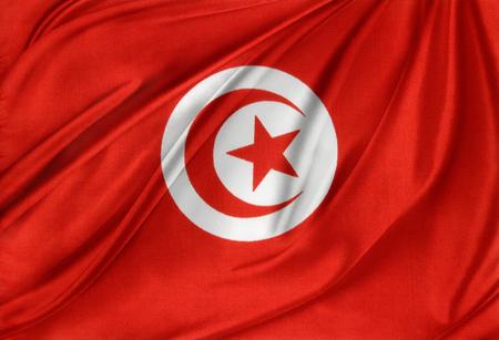 Closeup of silky Tunisia flag