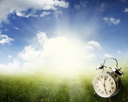 Alarm clock in sunlit spring field
