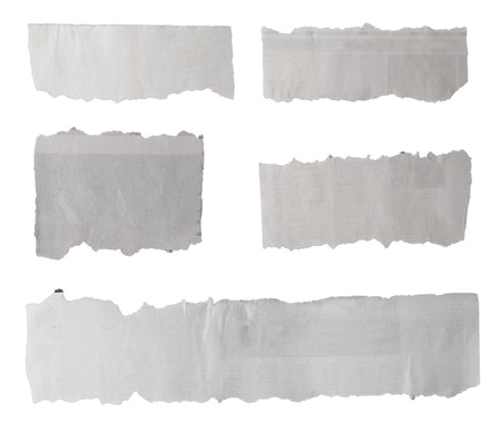 Pieces of torn paper on plain background