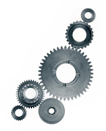 Photo pour Metal gears on plain background - image libre de droit