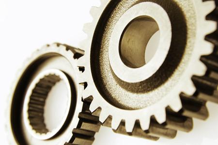 Photo pour Closeup of two metal cog gears - image libre de droit