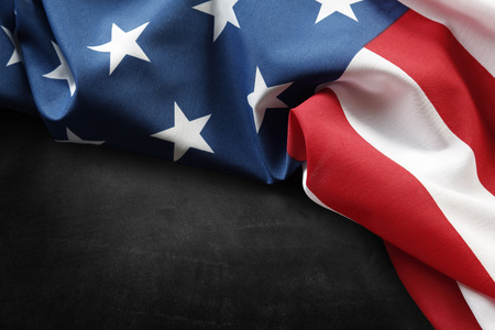 Photo for Closeup of American flag on grey background - Royalty Free Image
