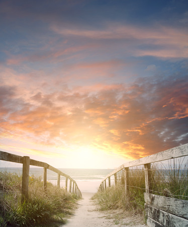Photo for Walkway leading to beach scene - Royalty Free Image