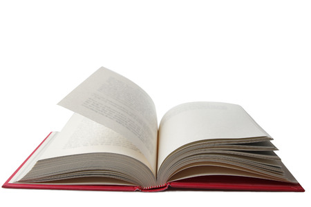 Open book on plain background