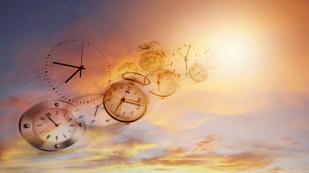 Clocks in bright sky. Time flies