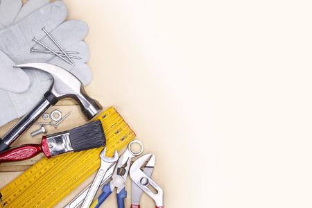 Photo pour Assorted work tools. Copy space - image libre de droit