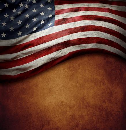 Photo pour American flag on brown background - image libre de droit
