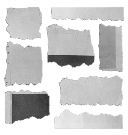 Photo for Eight pieces of torn paper on plain background  - Royalty Free Image