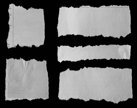 Photo for Five pieces of torn newspaper on black background - Royalty Free Image