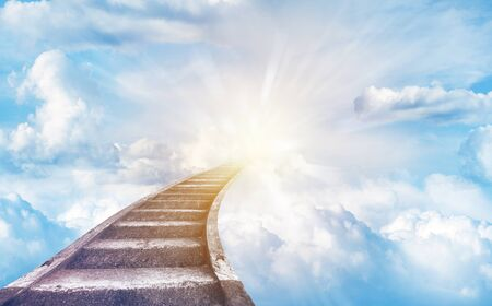 Photo for Stairs leading up to sky. Stairway to heaven - Royalty Free Image