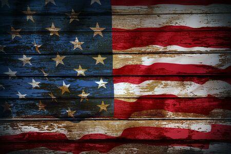 Photo pour Closeup of American flag on boards - image libre de droit